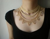 Empyrean - Ivory - Bright Golden Beige ... Beaded Crochet Necklace - Flowers
