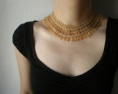 Allure - Golden Beige  ... Beaded Crochet Necklace