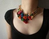 Buddleja Salviifolia ... Freeform Beaded Crochet Necklace - Colorful Flowers