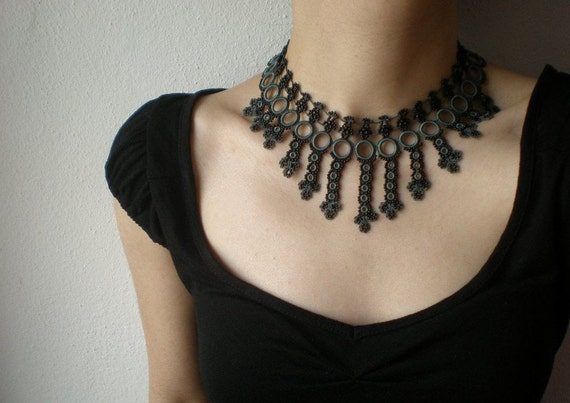 Galactic Filaments --- Black / Gray ... Beaded Crochet Necklace