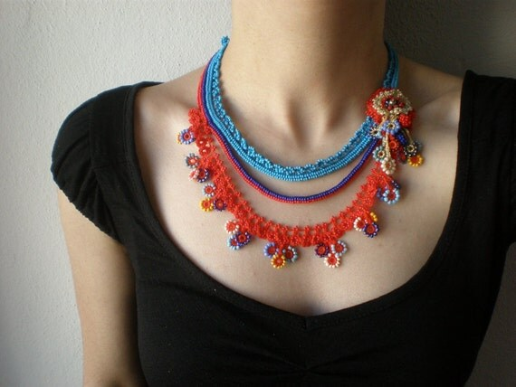 Centaurea Cyanus  ... Beaded Crochet Necklace - Colorful Flowers