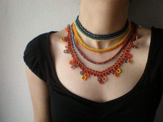 Fuchsia Splendens ...  Beaded Crochet Necklace - Flowers - Green Yellow Orange Blue