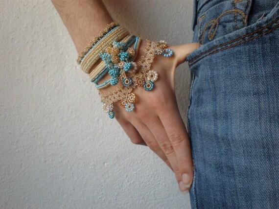 Fuchsia Pilaloensis ... Freeform Crochet Cuff - Flowers - Cream Beige Teal Blue