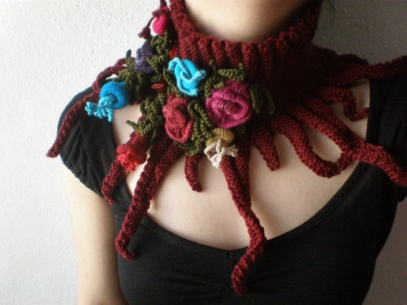 Elan ... Knitted Neck Warmer / Scarflette - Burgundy - Pink Blue Red Colorful Crochet Flowers by irregular expressions