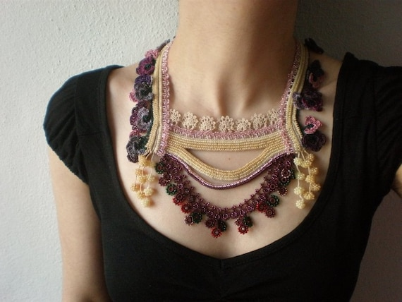 Primula Farinosa ... Beaded Crochet Necklace - Cream Beige Pink Plum - Flowers - Beadwork Statement Bib Necklace