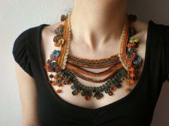 Primula Hortensis ... Beaded Crochet Necklace - Yellow Orange Brown Green