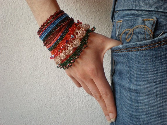 Ribes Sanguineum  ... Freeform Crochet Cuff - Flowers -  Coral Red Burgundy Blue Green Cream