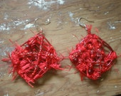 Red Square Cosmic Beaded Wire Earrings