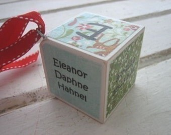 Girls - Reindeer Games - Personalized Wooden Block Christmas Ornament