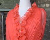 Vintage Bright Coral Chiffon Accordion Pleat Party Dress