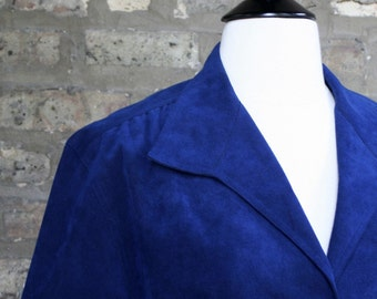 Vintage Royal Blue Ultrasuede Jerry Silverman Blazer