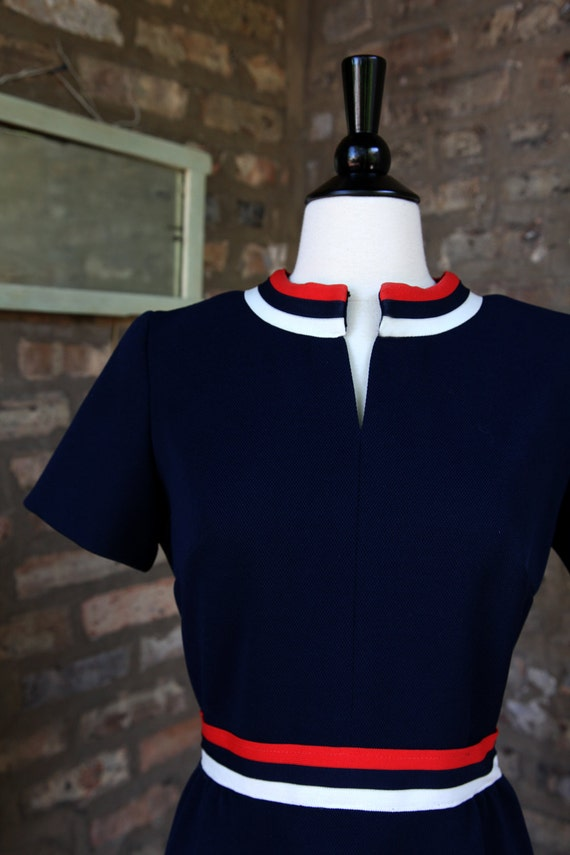 Vintage Verona Knits Navy Blue Red White Striped Dress