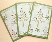 CLEARANCE - Green Winter Mini Bazzill Envelopes - Gift Card \/ Business Card Holder - Set of Three