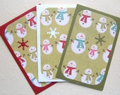 CLEARANCE - Happy Snowmen Mini Bazzill Envelopes - Gift Card \/ Business Card Holder - Set of Three