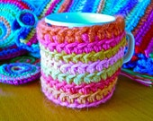 pink cup cozy multicolor crochet