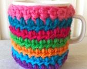 cup cozy bright multicolor crochet