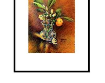 original painting cumquat blossom in vase colored pencil on paper 7 x 5 inch