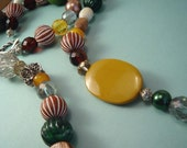 Bold Sepia BEADED 2-in-1 NECKLACE - mixed media piece in warm neutrals