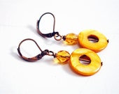 Mustard Target COPPER EARRINGS - MOP, Czech glass, leverbacks