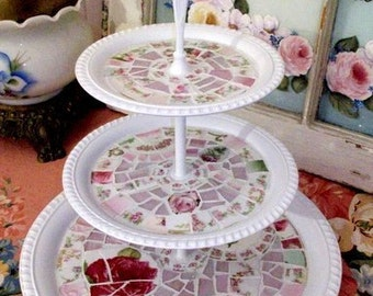 Pretty White Shabby Mosaic 3 Tier Tray Pastry Stand Cottage Chic Home Decor