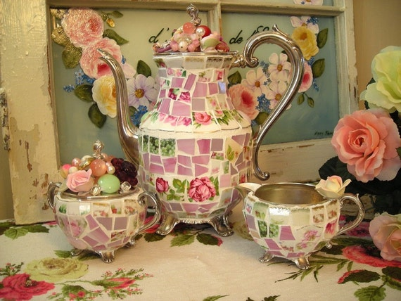 Shabby Mosaic 3 Piece Silver Tea Set