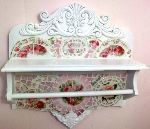 Stunning Antique Shelf with Towel Bar Shabby Rose Mosaic
