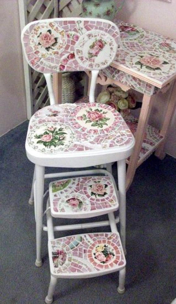 Adorable Vintage Shabby Chic Mosaic Kitchen Chair or Step Stool