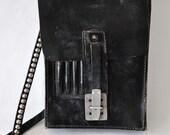 Black leather vintage motorcycle messenger bag multiple pockets