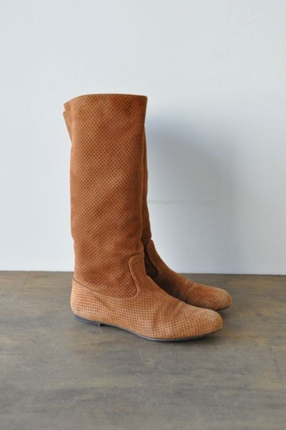 bally caramel suede boots perforated leather vintage 8