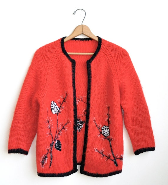 Pinecone red wool mohair vintage cardigan sweater