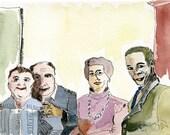 ORIGINAL watercolour painting /  The Official Photo //  four  women  men  ooak