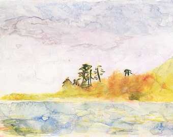 Watercolour painting  Third island from the left //  aquarelle / watercolour / ooak