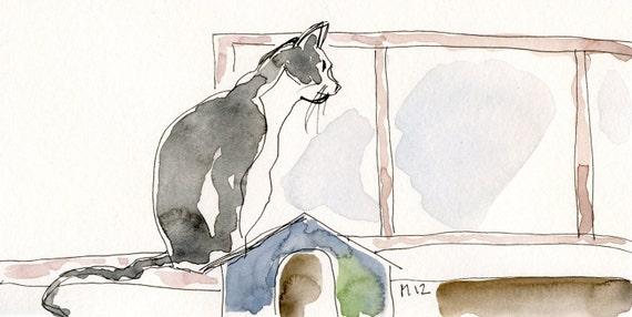 Original drawing, Walk-by drawings, Cat at the window, ooak, cat, ink, Vang paper, Vancouver