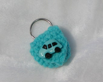Crochet keychain Coin Cozy, coin holder, coin pouch, mini purse, coin purse, ring holder - blue car