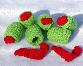 FREE PATTERN--- Crocheted Olives with Pimentos