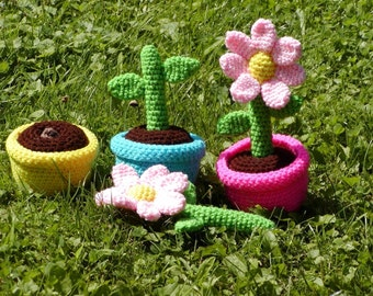 Crocheted Growing Flowers Preschool and Toddler Set----PDF--PATTERN