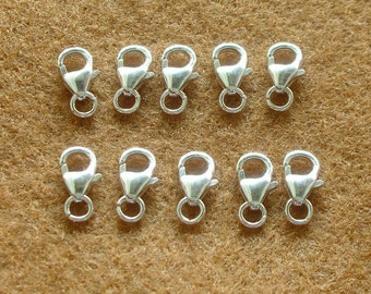 925 Sterling Silver Clasps - Parrot Clasps - LOBSTER CLAW CLASPS 10mm. - 10 pieces