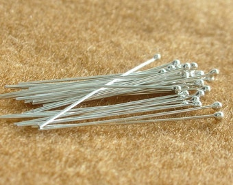 925 Sterling Silver BALL HEADPINS 24 Gauge 30 mm - 50 Pieces