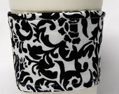 Coffee Cozy, Cup Sleeve, Eco Friendly, Slip-on: Black and White Damask