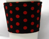 Coffee Cozy/ Cup Sleeve Eco Friendly Slip-on: Red Polka Dots on Black