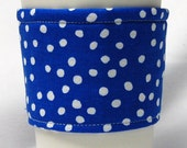 Coffee Cozy/ Cup Sleeve, Eco-Friendly, Slip-on, Teacher Appreciation, Co-Worker Gift, Bulk Discount: White Polka Dots on Royal Blue