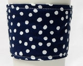 Coffee Cozy/ Cup Sleeve Eco Friendly Slip-on: Navy Blue with White Polka Dots