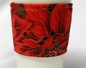 Christmas Special - Cup Sleeve, Coffee Cozy, Eco Friendly, Slip-on: Red Christmas Poinsettias