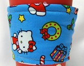 Christmas Special - Coffee Cozy/Cup Sleeve Eco Friendly Slip-on, Teacher Appreciation, Co-Worker Gift: Hello Kitty Christmas