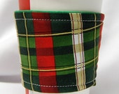 Christmas Special-Coffee Cozy/Cup Sleeve Eco Friendly Slip-on, Teacher Appreciation, Co-Worker Gift: Green/Red/Cream/Gold Xmas Plaid