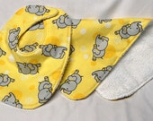Bib and Burp Cloth Set: Gray Elephants on Yellow - Ready to Ship