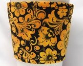 Special - Coffee Cozy, Cup Sleeve, Eco Friendly, Slip-on: Orange and Gold Floral on Black