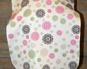 Clearance - Adult Rib Bib, Make-up Bib/Protector/Shield - Long Length: Brown, Pink, Green Floral Designs on Cream/Magenta