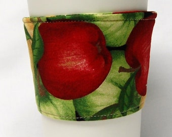 Coffee Cozy/Cup Sleeve Eco Friendly Slip-on, Teacher Appreciation, Co-Worker Gift, Bulk Discount:  Red and Green Apples