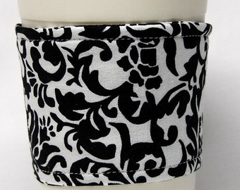 Coffee Cozy/Cup Sleeve Eco Friendly Slip-on, Teacher Appreciation, Co-Worker Gift, Bulk Discount: Black and White Damask